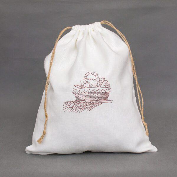 Biały worek lniany na chleb z haftem
